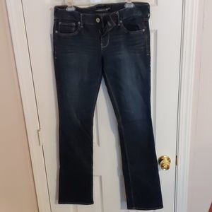 Dark wash barely boot Express jeans, 8R
